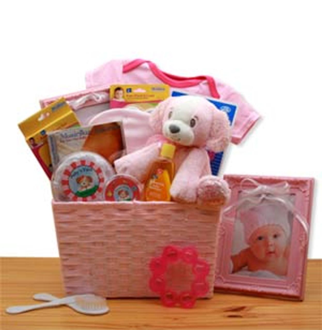 Puppy Love New Baby Gift Basket Pink Baskets N Beyond