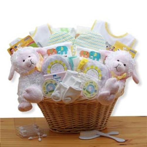 Double Delight Twins New Baby Gift Basket - Yellow
