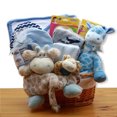 Jungle Safari New Baby Gift Basket - Blue