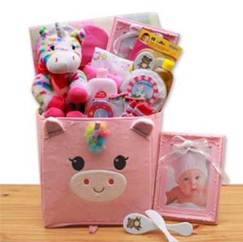 Dainty Tails New Baby Unicorn  Gift Basket