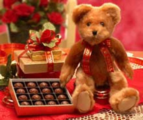Valentine Hugs & Kisses Teddy Bear & Chocolates