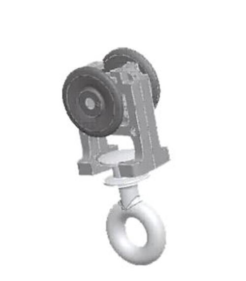 Runner mounted on wheels w/ rotating eyelet. Wheels shape make it quieter.