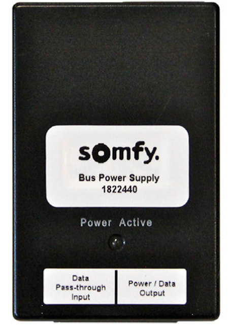 The Bus Power Supply for Somfy Digital Network (SDN) provides 24V DC power for up to 100 controls and distribution devices on the SDN bus. A separate Bus Power Supply can be used for 1 Compact Sensor or 1 Sensor Station.