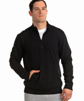 Whether on your way to the gym or lounging on the weekend, this ¼ zip unisex fleece offers total comfort thanks to cotton/poly fleece construction and ribbed trim at the cuffs and waist.     7.5 oz 50/50 cotton/poly fleece     Mock neck pullover     Quarter Zip     Muff pocket     Rib trim at cuffs and waist for the perfect fit