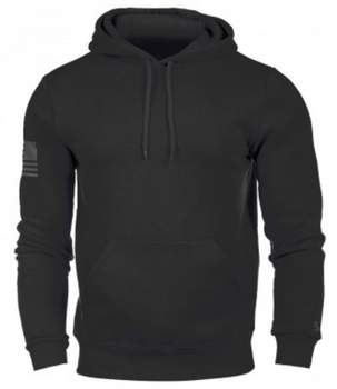 MADE IN THE USA      9-oz. 50/50 cotton/poly fleece     Three piece hood with draw cord     Longer updated fit     Deeper muff pocket     Stitch detail     Soft hand and lush feel     Reflective American flag on left sleeve     Adult sizes SML-2XL           Black only