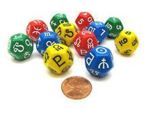 Astrology Dice: Planets and Signs Assorted (One 12-Sided Die)