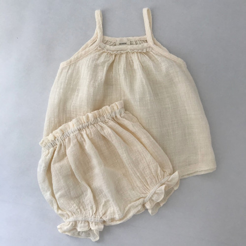 set bloomers strappy top, lace neckline cream  girl