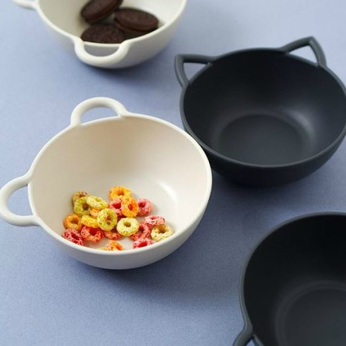 animal shaped bowl lid fork spoon dark grey ivory plastic BPA free non slip