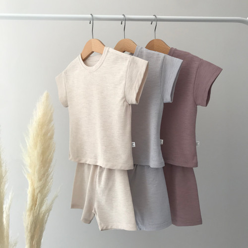 short sleeve top regular fit elasticated waist shorts comfy loungwear co-ord gray beige indi pink