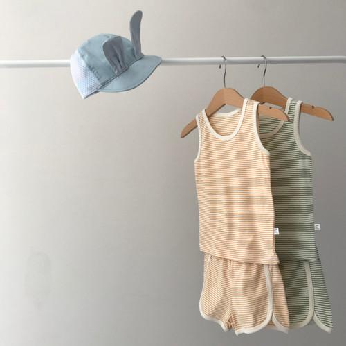 Set, Soft, Loungwear, Striped, Top, Bottom, Tank Top Boy, Girl, Unisex, Green