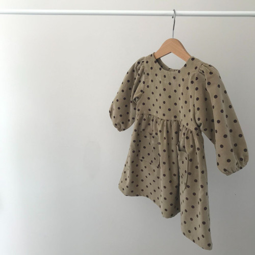 Puff Sleeve Dot Corduroy Dress