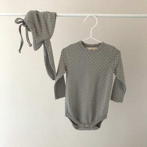 Dot Romper with Bunny Hat- Gray