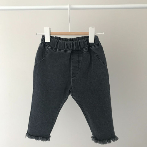 Raw Hem Jeans-Black