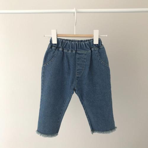 Raw hem Jeans-Blue