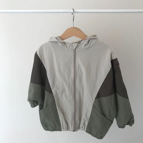 Color Block Hooded Jacket-Khaki