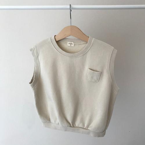 Sweat Style Slouchy Vest-Beige