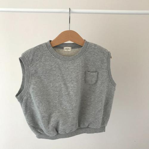 Sweat Style Slouchy Vest-Gray