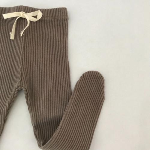 Rib Foot Leggings-Mocca