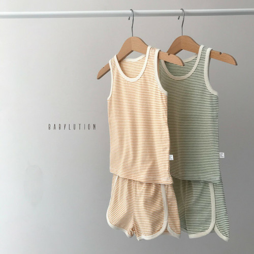 Set, Soft, Loungwear, Striped, Top, Bottom, Tank Top Boy, Girl, Unisex, Green