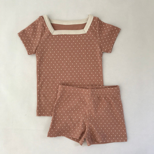 Doted, Square neckline, Short sleeve top, Set, Loungwear, Easywear, Stretchy bottoms Khaki, Light Gray, Dusty Pink