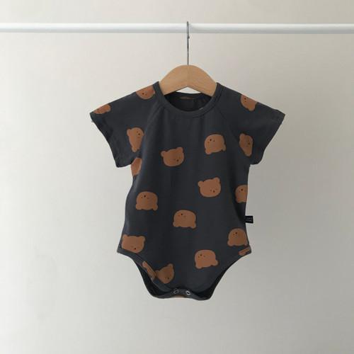 romper bear design boy girl comfy co-ord short sleeve round neck ivory, mint, charcoal