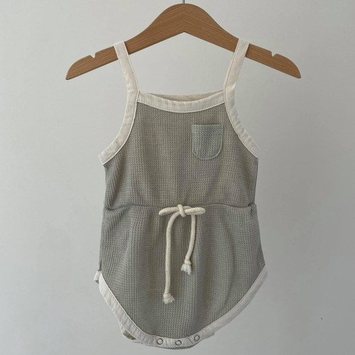 Strappy, Waffle, Bodysuit, Elasticated Waist light gray, gray and charcoal