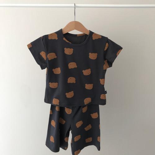 pyjama set unisex loungwear mint ivory charcoal loosefitting slouchy short sleeve