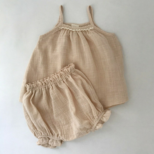 set bloomers strappy top, lace neckline indi pink girl