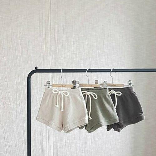 boy girl unisex shorts pants waffle weave beige brown khaki soft versatile