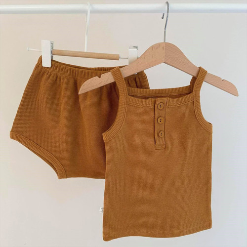 girls, jude, waffle, beige, khaki, mustard, set, top, bottom, outfit, summer, stylish, babylution