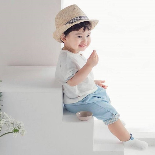 Hoi, boy, cute, prince, brown, blue, sky blue, set, easywear, everyday, cristening, babylution
