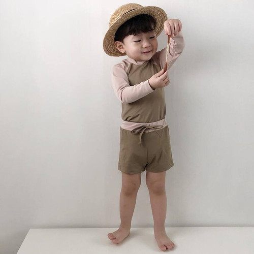 Barney, swimsuit, summer, swimwear, babylution, eshop, brown, boys, girls