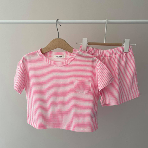 striped, easywear, lightwear, everyday, for the house, black, pink, green, boys, girls, top, bottom, set