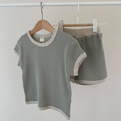 waffle, set, top, bottom, stylish, quality, cotton, boy, girl, mint, kids, beige, moccha, brown, oatmeal, babylution, eshop, greece, cyprus