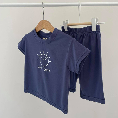 smile, outfit, cosy, stylish, navy, blue, girls, boys, set, top, bottom, easywear, supersoft, elastic, babylution, quality, eshop