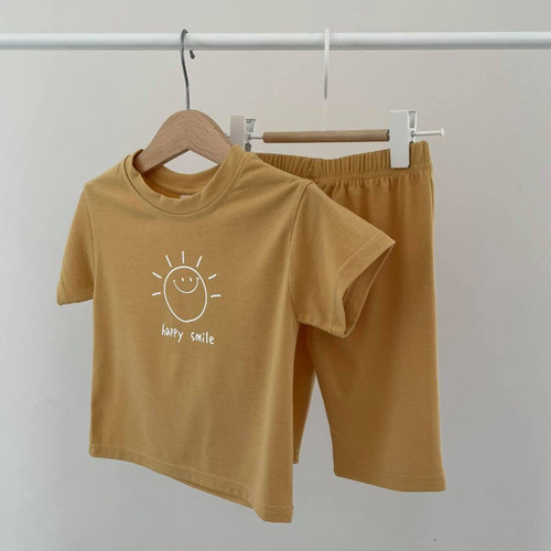 smile, outfit, cosy, stylish, navy, blue, girls, boys, set, top, bottom, easywear, supersoft, elastic, babylution, quality, eshop, mustard, yellow