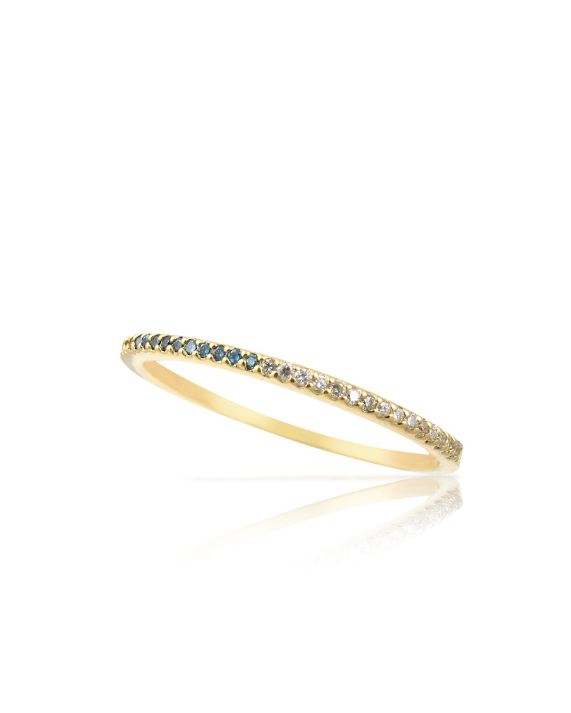 Multi-Colored Blue & White Diamond 14K Yellow Gold Skinny Stacking Band