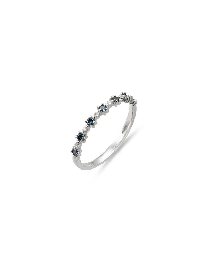 "Multi-Color Blue Diamond 14K White Gold ""Flowerette"" Style Stackable Ring"