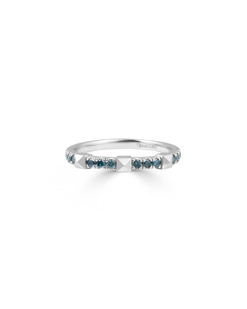 Blue Diamond 14K White Gold Pyramid Stackable Ring