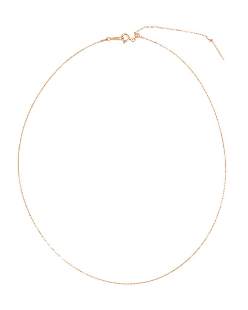 """18K Rose Gold Adjustable Textured Wire Necklace 14-16"""""""