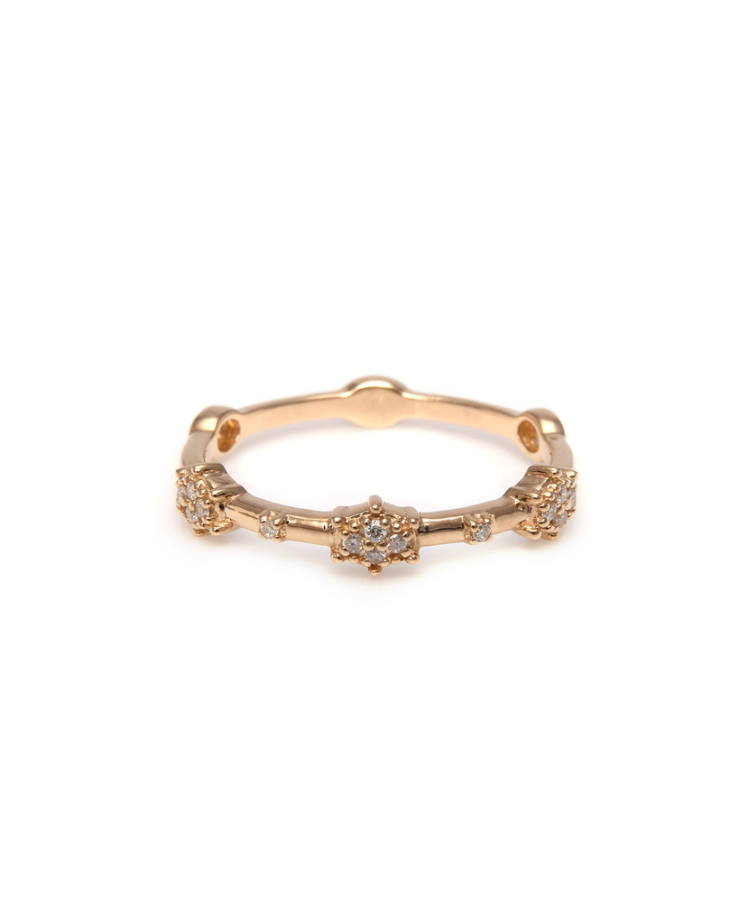 "White Diamond 14K Yellow Gold ""Starburst"" Stacking Band"