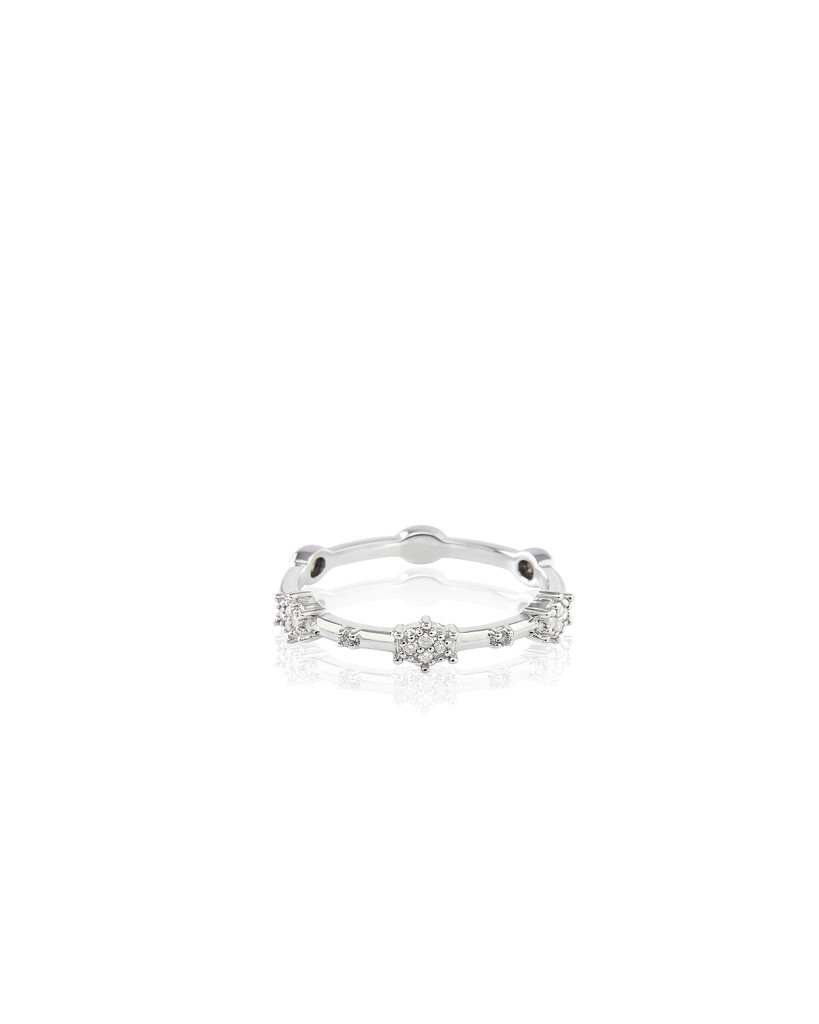 "White Diamond 14K White Gold ""Starburst"" Stacking Band"