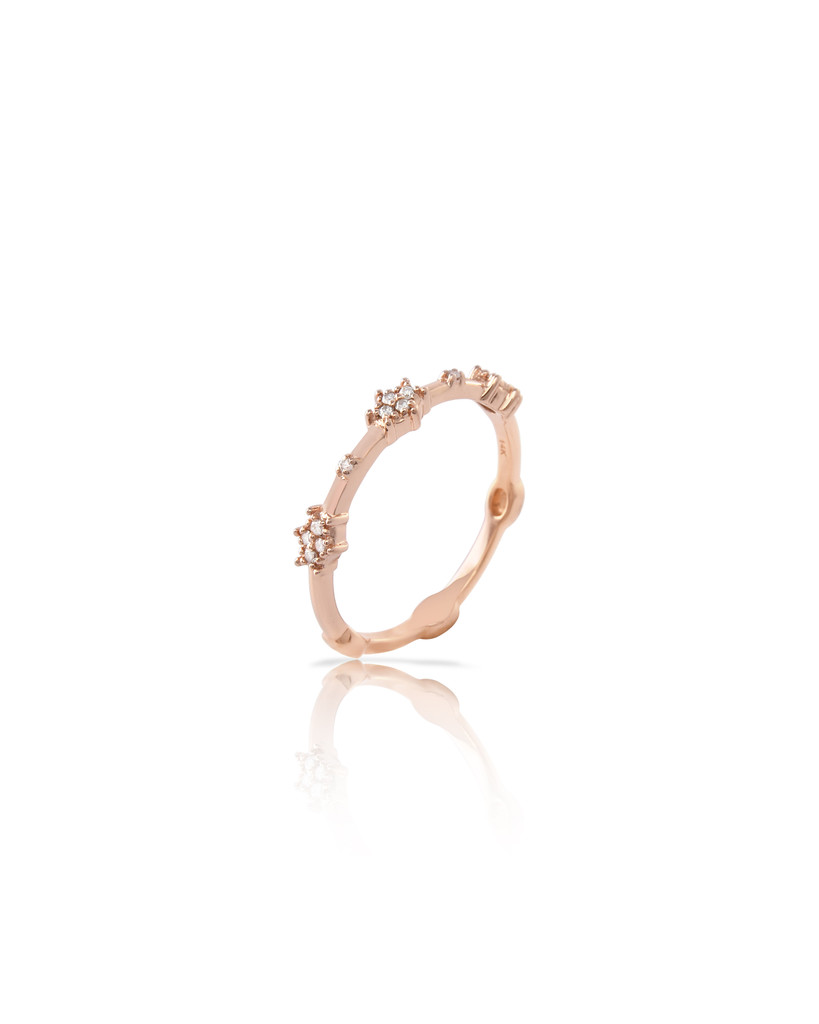 "White Diamond 14K Rose Gold ""Starburst"" Stacking Band"