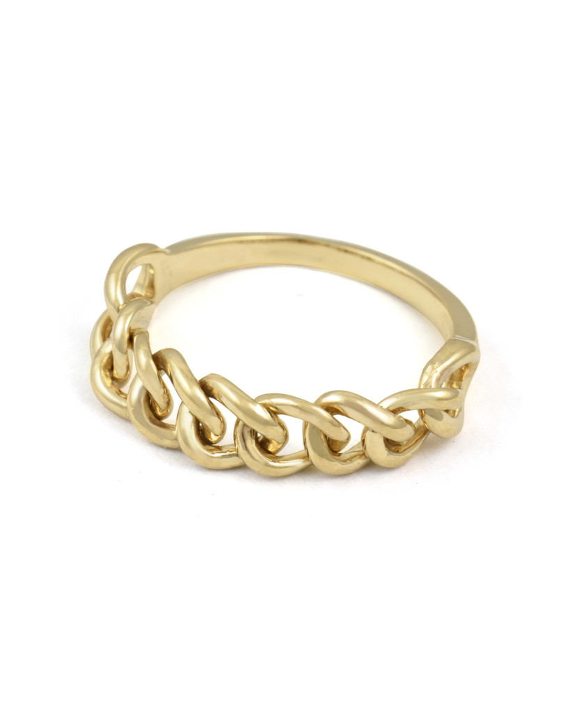 Yellow Gold  Solid 14k Chain Ring