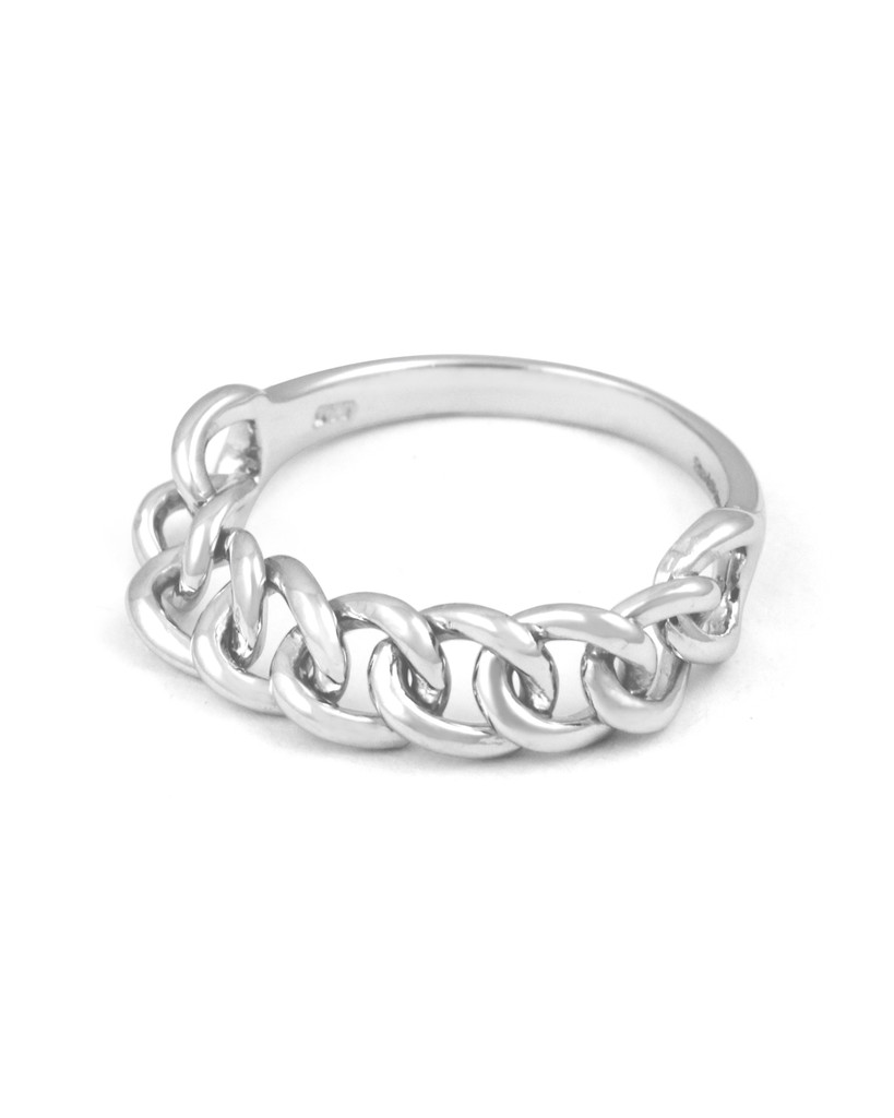 14K Solid White Gold Chain Ring