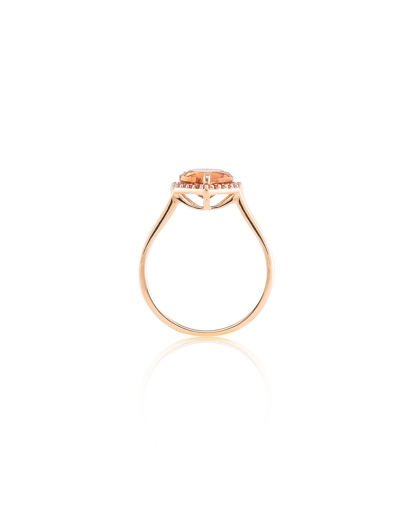 Citrine & Pink Tourmaline 14K Yellow Gold Semi-Precious Stone Heart Ring with Halo Pave