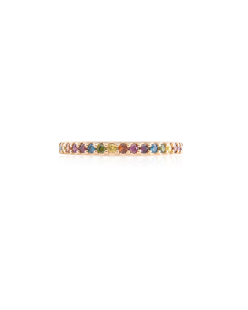 Sorted Rainbow Diamond 14K Yellow Gold Eternity Band