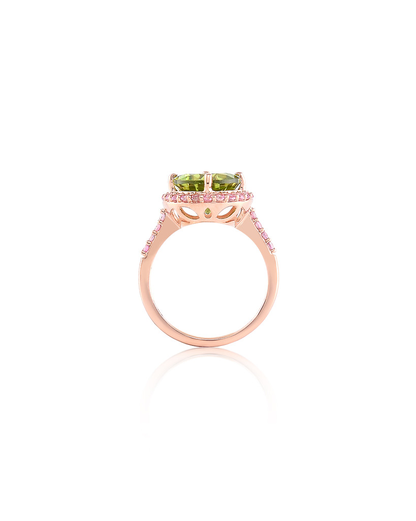 Peridot Diamond & Pink Sapphires 14K Rose Gold Semi-Precious Gemstone Ring with Paved Halo & Shoulder