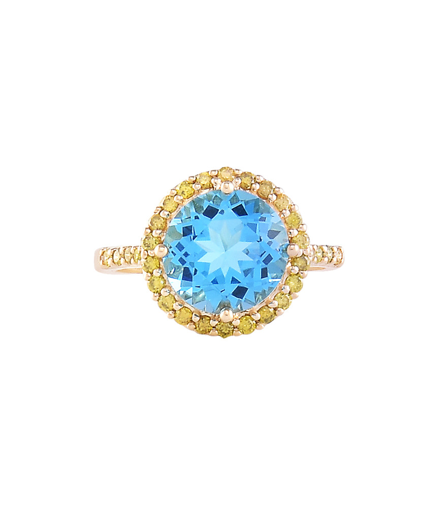 Swiss Blue Topaz & Yellow Diamonds 14K Rose Gold Round Semi-Precious Gemstone Ring with Paved Halo & Shoulder
