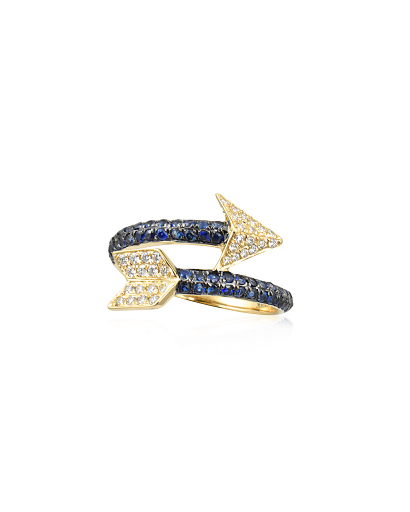 White Diamonds & Blue Sapphire 14K Yellow Gold Wrapped Arrow Ring